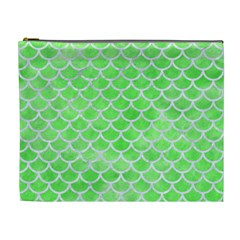 Scales1 White Marble & Green Watercolor Cosmetic Bag (xl)