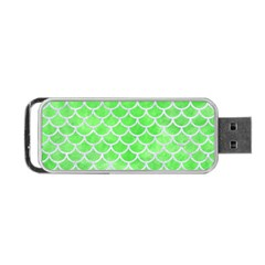 Scales1 White Marble & Green Watercolor Portable Usb Flash (one Side)