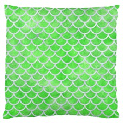 Scales1 White Marble & Green Watercolor Large Flano Cushion Case (two Sides)
