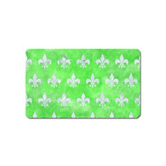 Royal1 White Marble & Green Watercolor (r) Magnet (name Card)