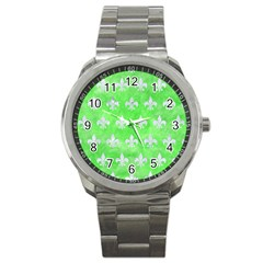 Royal1 White Marble & Green Watercolor (r) Sport Metal Watch