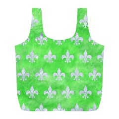 Royal1 White Marble & Green Watercolor (r) Full Print Recycle Bags (l)