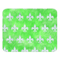 Royal1 White Marble & Green Watercolor (r) Double Sided Flano Blanket (large)