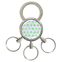 Royal1 White Marble & Green Watercolor 3 Ring Key Chains
