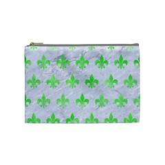Royal1 White Marble & Green Watercolor Cosmetic Bag (medium)