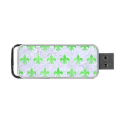 Royal1 White Marble & Green Watercolor Portable Usb Flash (two Sides) by trendistuff