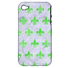 Royal1 White Marble & Green Watercolor Apple Iphone 4/4s Hardshell Case (pc+silicone)