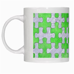 Puzzle1 White Marble & Green Watercolor White Mugs