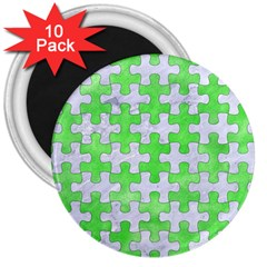 Puzzle1 White Marble & Green Watercolor 3  Magnets (10 Pack)