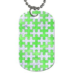Puzzle1 White Marble & Green Watercolor Dog Tag (two Sides)