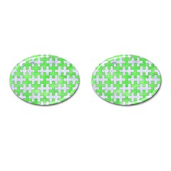 Puzzle1 White Marble & Green Watercolor Cufflinks (oval)