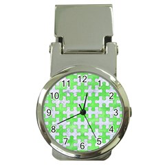 Puzzle1 White Marble & Green Watercolor Money Clip Watches