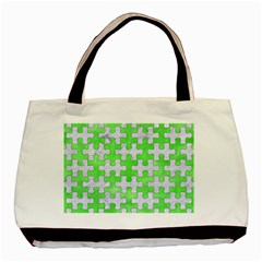 Puzzle1 White Marble & Green Watercolor Basic Tote Bag (two Sides)
