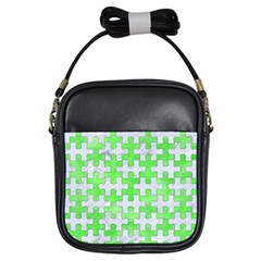 Puzzle1 White Marble & Green Watercolor Girls Sling Bags