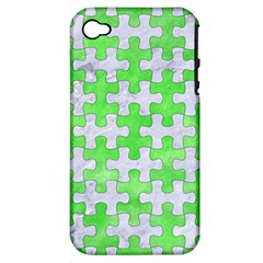 Puzzle1 White Marble & Green Watercolor Apple Iphone 4/4s Hardshell Case (pc+silicone)