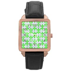 Puzzle1 White Marble & Green Watercolor Rose Gold Leather Watch