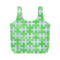 Puzzle1 White Marble & Green Watercolor Full Print Recycle Bags (m)