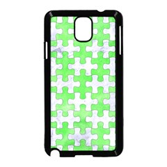 Puzzle1 White Marble & Green Watercolor Samsung Galaxy Note 3 Neo Hardshell Case (black)