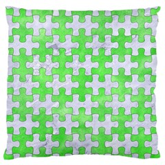 Puzzle1 White Marble & Green Watercolor Standard Flano Cushion Case (two Sides)