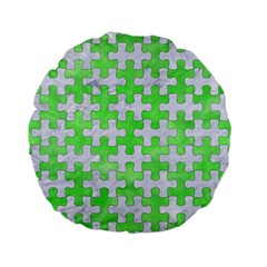 Puzzle1 White Marble & Green Watercolor Standard 15  Premium Flano Round Cushions