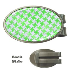 Houndstooth2 White Marble & Green Watercolor Money Clips (oval)