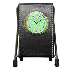 Houndstooth2 White Marble & Green Watercolor Pen Holder Desk Clock