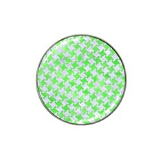Houndstooth2 White Marble & Green Watercolor Hat Clip Ball Marker