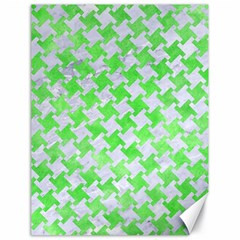 Houndstooth2 White Marble & Green Watercolor Canvas 18  X 24