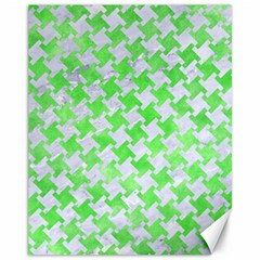 Houndstooth2 White Marble & Green Watercolor Canvas 11  X 14