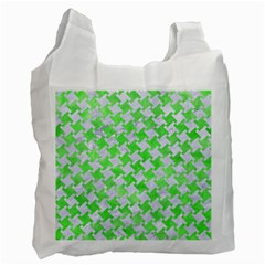 Houndstooth2 White Marble & Green Watercolor Recycle Bag (one Side)
