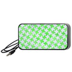 Houndstooth2 White Marble & Green Watercolor Portable Speaker