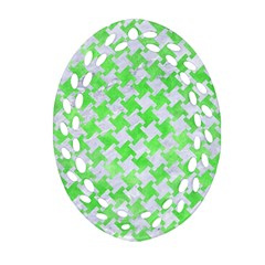 Houndstooth2 White Marble & Green Watercolor Oval Filigree Ornament (two Sides)
