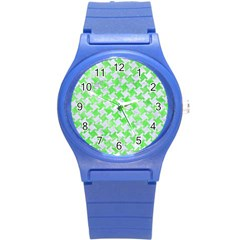 Houndstooth2 White Marble & Green Watercolor Round Plastic Sport Watch (s)