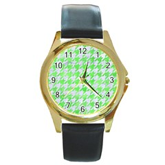 Houndstooth1 White Marble & Green Watercolor Round Gold Metal Watch