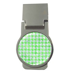 Houndstooth1 White Marble & Green Watercolor Money Clips (round)