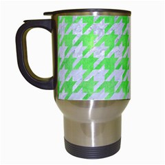 Houndstooth1 White Marble & Green Watercolor Travel Mugs (white)