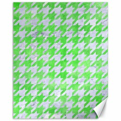 Houndstooth1 White Marble & Green Watercolor Canvas 11  X 14