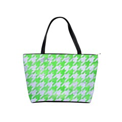 Houndstooth1 White Marble & Green Watercolor Shoulder Handbags
