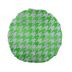 Houndstooth1 White Marble & Green Watercolor Standard 15  Premium Round Cushions