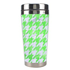 Houndstooth1 White Marble & Green Watercolor Stainless Steel Travel Tumblers