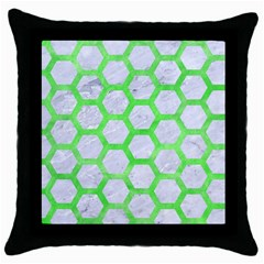 Hexagon2 White Marble & Green Watercolor (r) Throw Pillow Case (black) by trendistuff