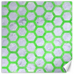 Hexagon2 White Marble & Green Watercolor (r) Canvas 12  X 12