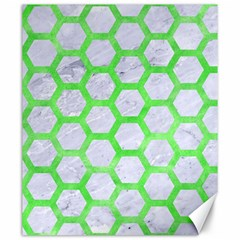 Hexagon2 White Marble & Green Watercolor (r) Canvas 20  X 24