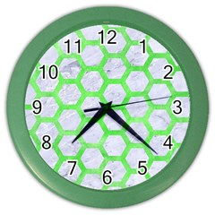 Hexagon2 White Marble & Green Watercolor (r) Color Wall Clock