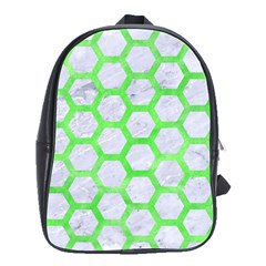 Hexagon2 White Marble & Green Watercolor (r) School Bag (large)