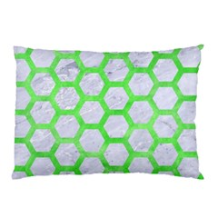 Hexagon2 White Marble & Green Watercolor (r) Pillow Case (two Sides)