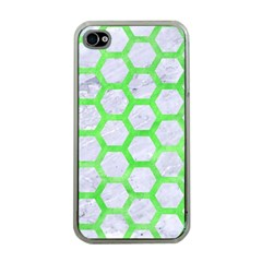 Hexagon2 White Marble & Green Watercolor (r) Apple Iphone 4 Case (clear) by trendistuff
