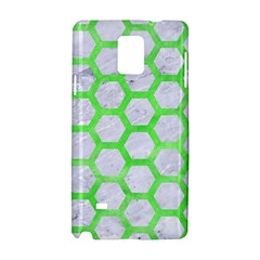 Hexagon2 White Marble & Green Watercolor (r) Samsung Galaxy Note 4 Hardshell Case