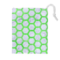 Hexagon2 White Marble & Green Watercolor (r) Drawstring Pouches (extra Large)