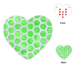 Hexagon2 White Marble & Green Watercolor Playing Cards (heart)